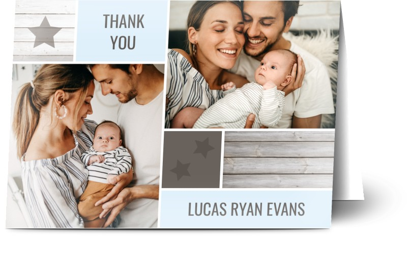 Baby Thank You Card Baby Wooden Boxes Boy - Baby Thank You Cards