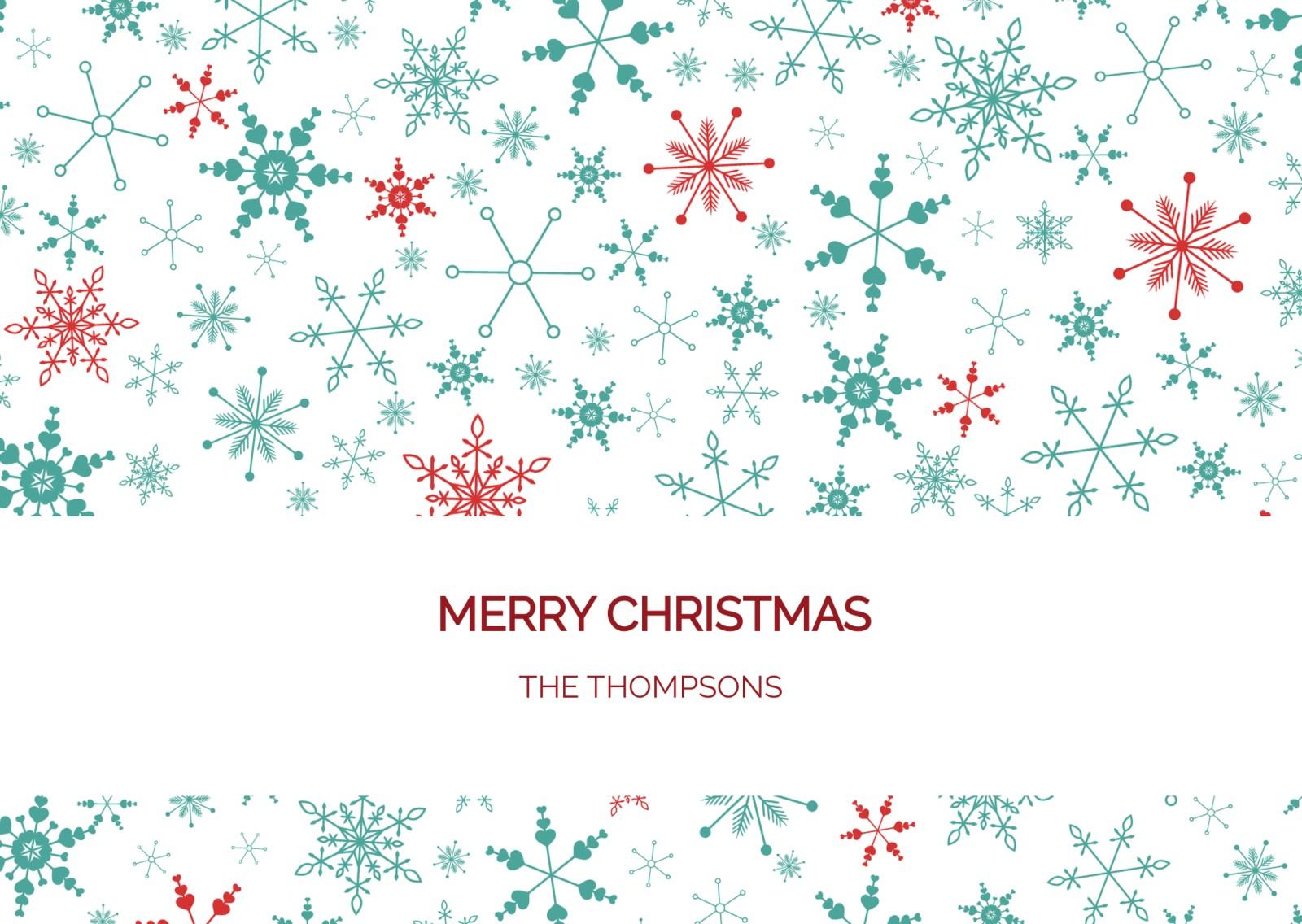 Modern Snowflake Pattern - Personalised Christmas Cards