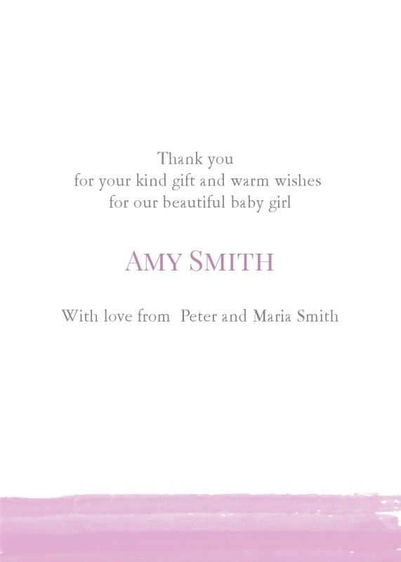 Baby Thank You Card Watercolour Line Girl Baby Thank You