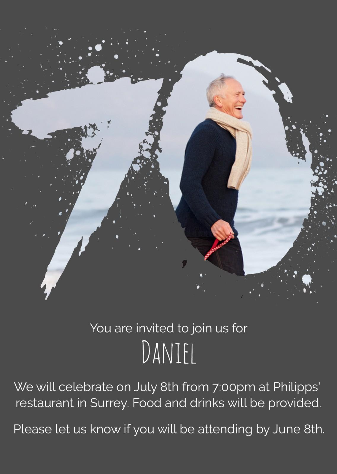 Birthday Invitation Age Splash 70 Man