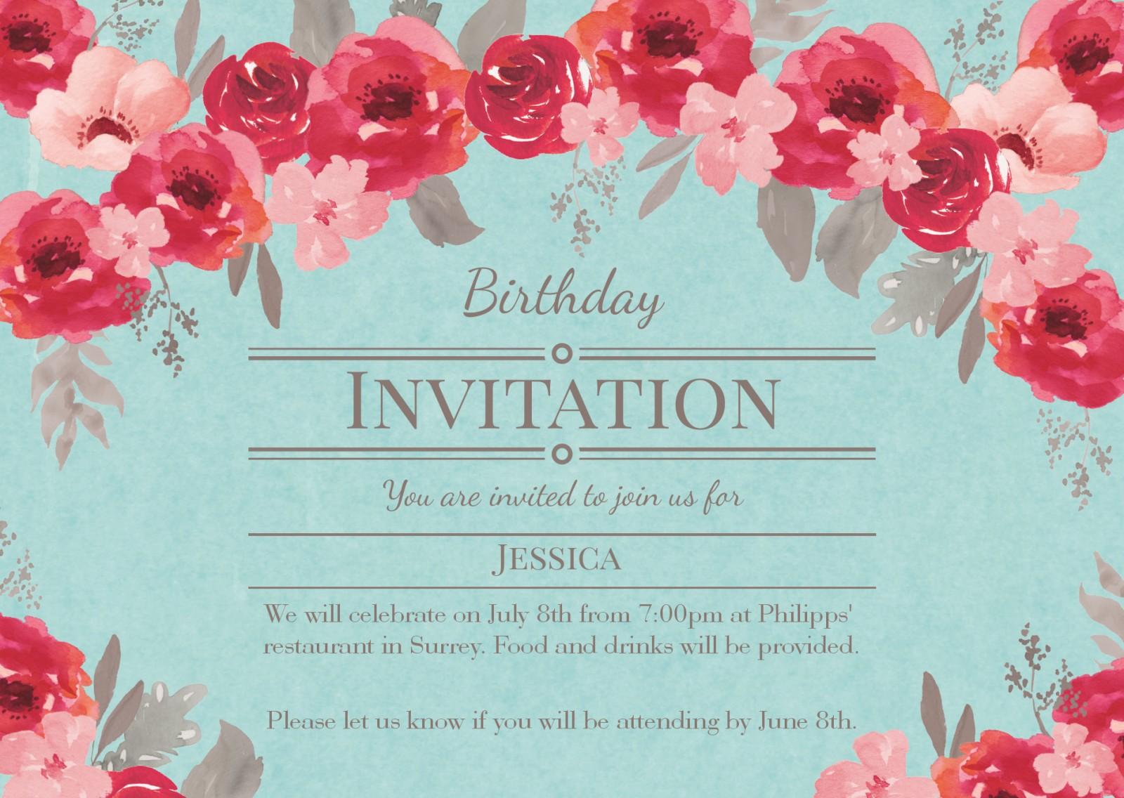 See All Personalised 60th Birthday Invitations Invitation Vintage Floral