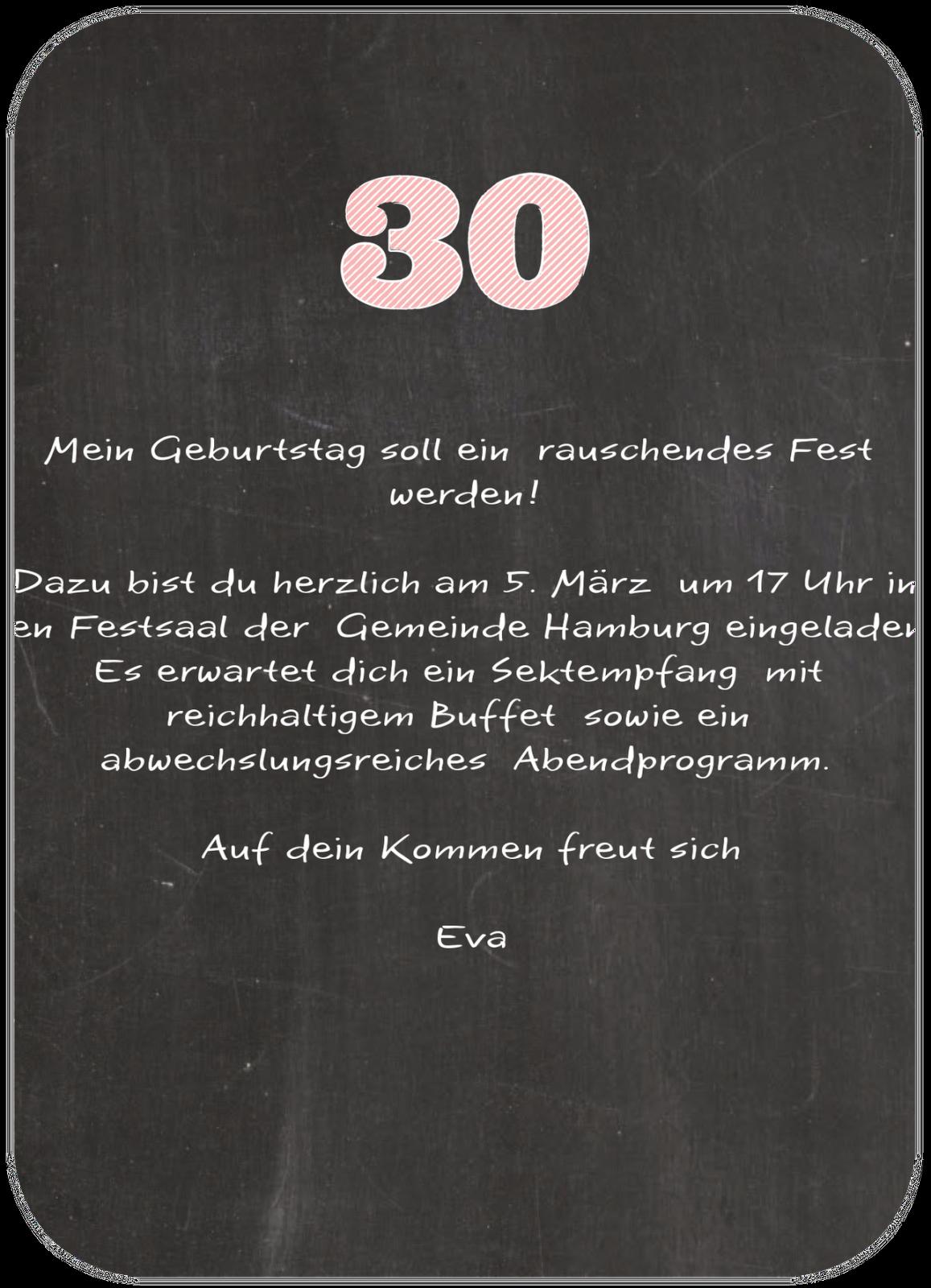 einladung 30 geburtstag - einladungskarten zum 30