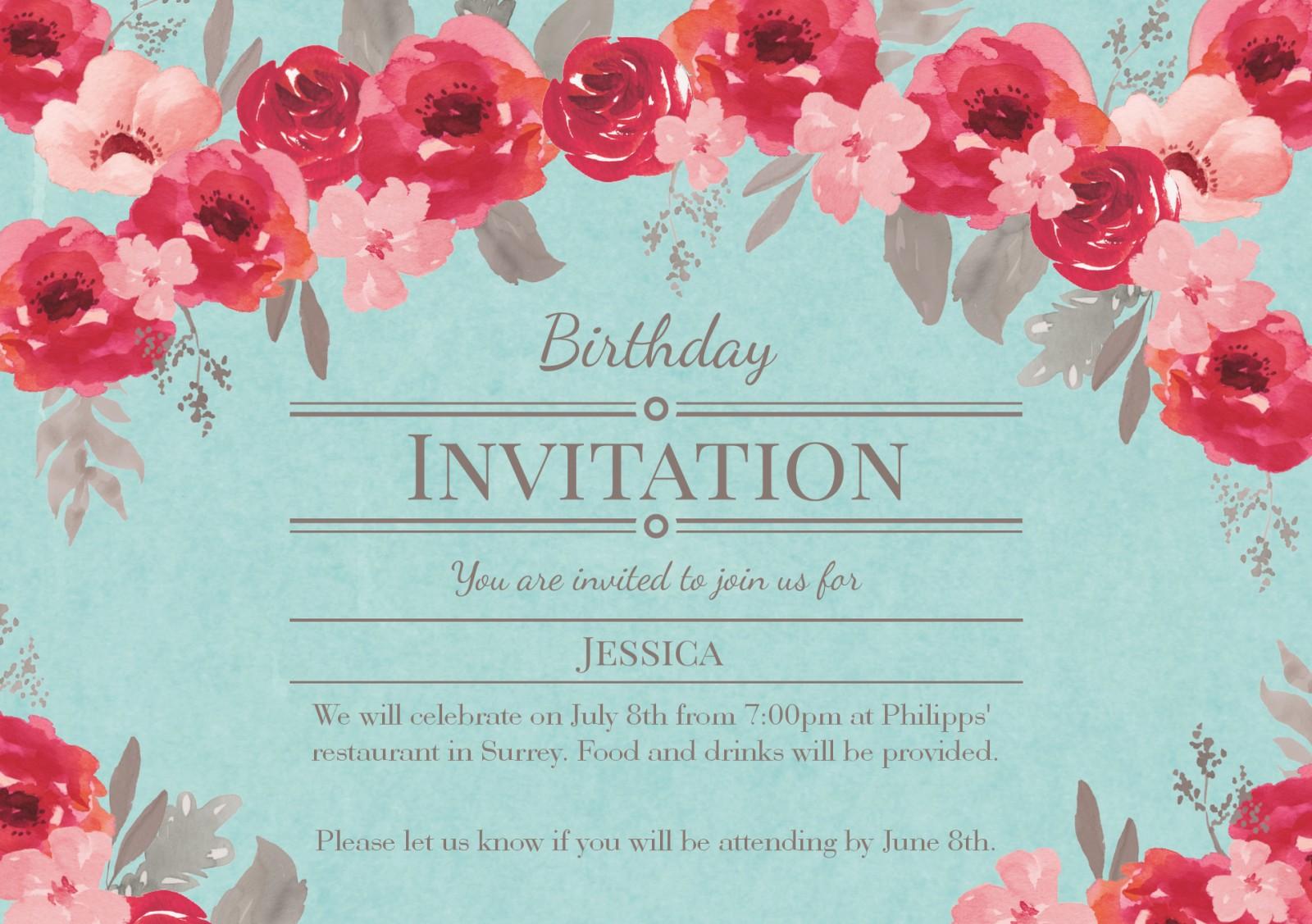 See All Personalised 70th Birthday Invitations Invitation Vintage Floral