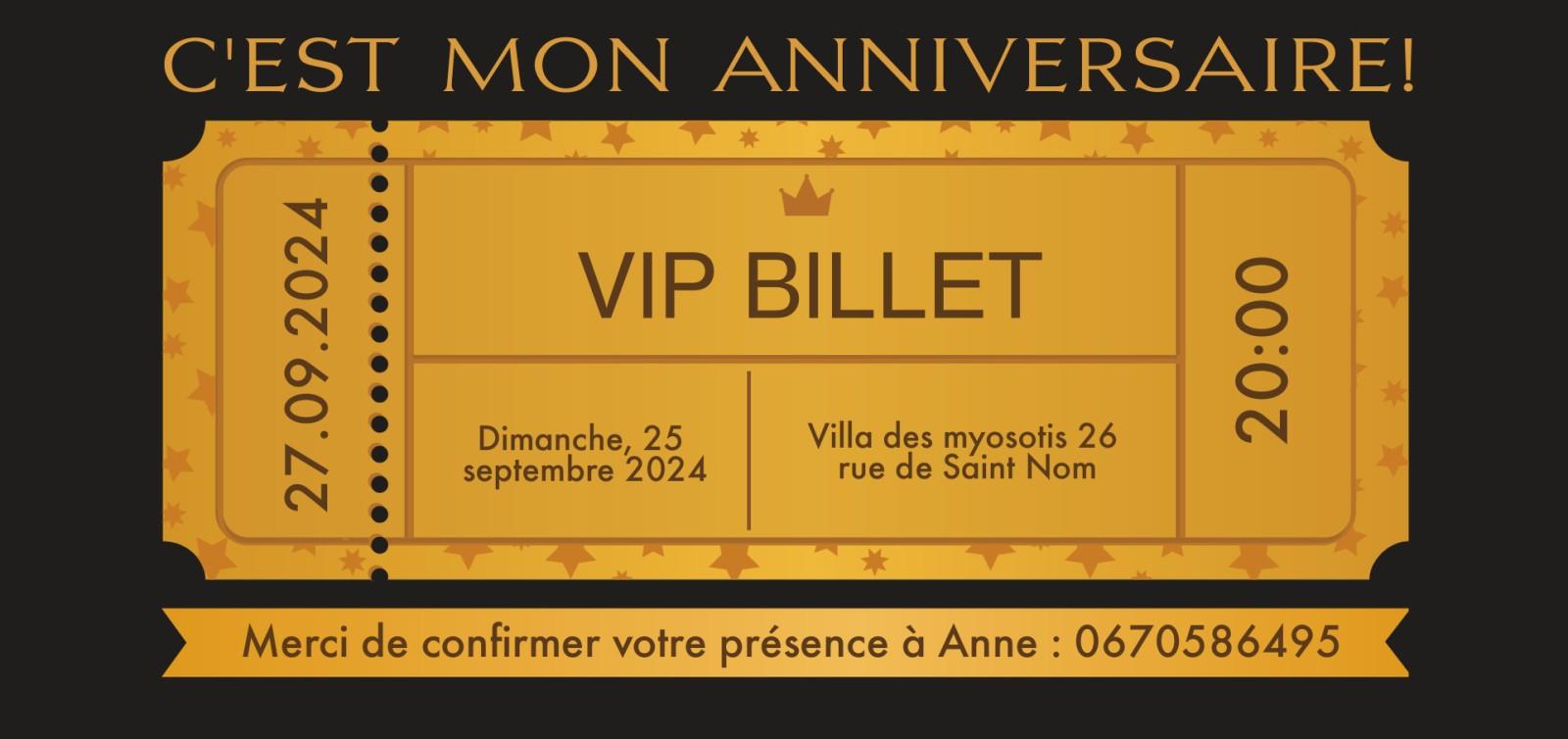 Carte d'invitation anniversaire Place VIP - Invitations d'anniversaire personnalisées | Optimalprint