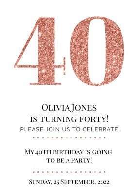 Customized 40th Birthday Invitations
