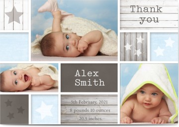baby thank you cards for boys your photos and text optimalprint uk
