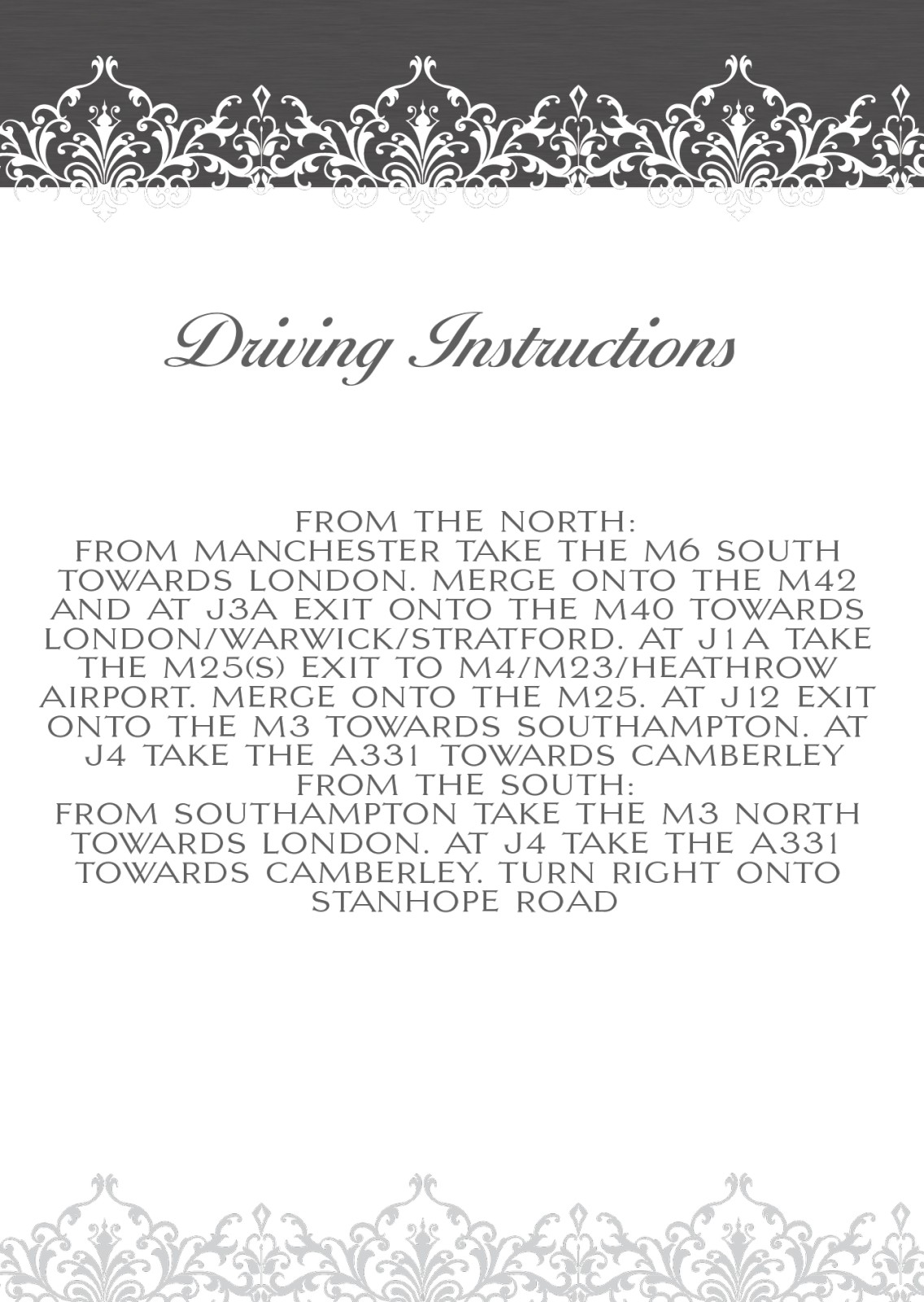 Driving Direction Cards For Weddings And Invitation Cards