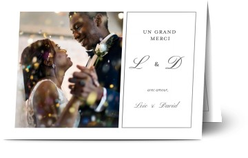 Carte remerciement mariage photoweb
