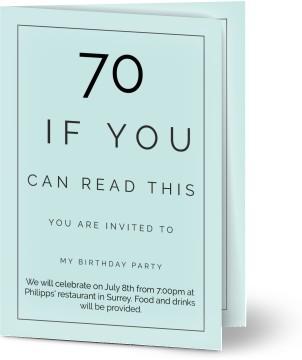Customized 70th Birthday Invitations Optimalprint