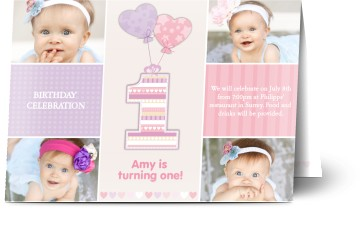 Sample Of Invitation Card For Christening And 1st Birthday. 1 year old  Kids Birthday Party Invitations Personalised for