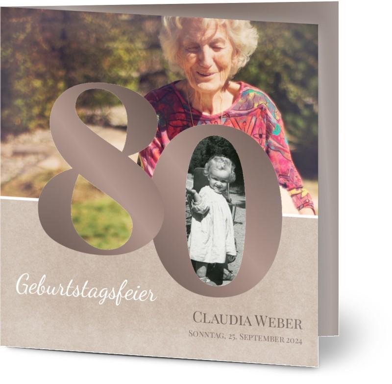einladung geburtstag vintage 80 - einladungskarten zum 80