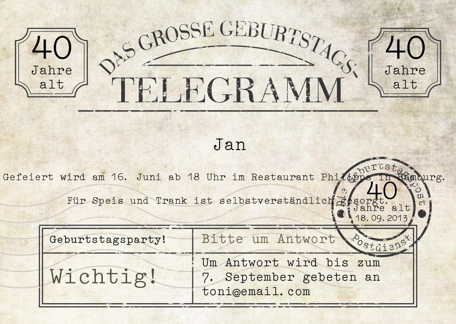 einladung 40. geburtstag vintage-telegramm