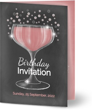 Pink Cocktails Birthday Customised Card